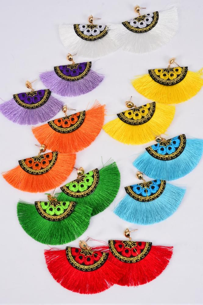 "Earrings Fringe Tassels Embroidery Multi/DZ **Post** Size-3.5""x 2.5"" Wide,2 Red,2 Turquoise,2 White, 2 Purple,2 Yelloe,1 Orange,1 Green Asst,Earring Card & OPP Bag & UPC Code"