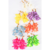"Earrings Chiffon Flower Leaf Citrus/DZ **Post** Size-2""x 1.5"" Wide,2 Fuchsia,2 Turquoise,2 White, 2 Purple,2 Yelloe,1 Orange,1 Lime Asst,Earring Card & OPP Bag & UPC Code"