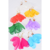 "Earrings Chiffon Flower w Real Seashells Multi/DZ **Post** Size-3.5""x 2"" Wide,2 Fuchsia,2 Orange,2 Blue,2 White, 2 Lavender,1 Green,1 Yellow Asst,Earring Card & OPP Bag & UPC Code"