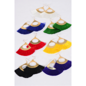 "Earrings Fringe Tassels Multi/DZ **Fish Hook** Size-3""x 2.5"" Wide,2 Black,2 White,2 Red,2 Royal Blue,2 Yellow,1 Green,1 Purple Mix,Earring Card & OPP Bag & UPC Code"