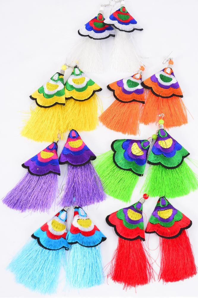 "Earrings Fringe Tassels Embroidery Multi/DZ **Fish Hook** Size-4""x 3"" Wide,2 Red,2 Blue,2 White, 2 Purple,2 Yelloe,1 Orange,1 Lime Asst,Earring Card & OPP Bag & UPC Code"