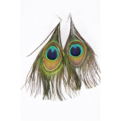 "Earrings Real Peacock Feathers/DZ **Fish Hook** Size-4.5""x  3"" Wide,Earring Card & OPP Bag & UPC Code"