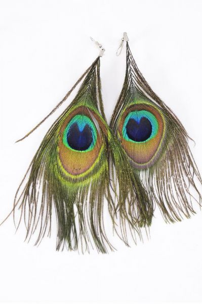 Earrings Real Peacock Feathers Dz Fish Hook Size 4 5 Quot X