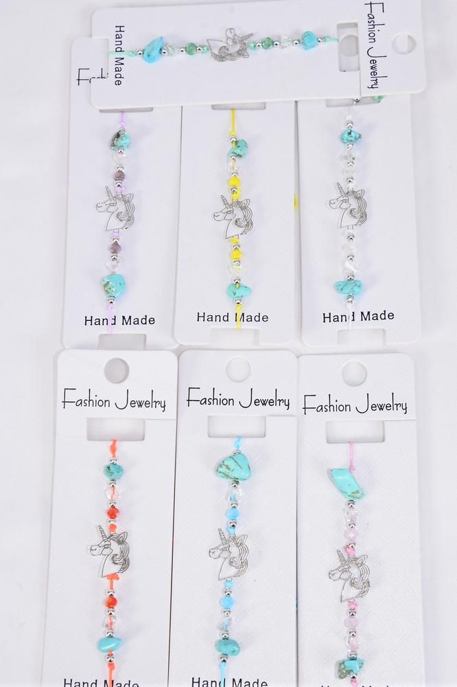 Bracelet Unicorn Silver Filigree Stainless Steel Semiprecious Stone Mix Pastel/DZ Pull-String, Adjustable,2 White,2 Pink,2 Purple,2 Blue,2 Yellow,1 Mint Green,1 Orange Mix,Individual Hang tag & OPP Bag & UPC Code
