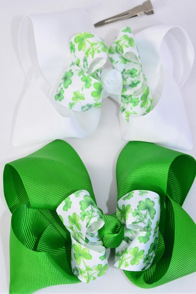 "Hair Bow Jumbo Double Layered Bow Shamrock Grosgrain Bow-tie/DZ **Alligator Clip** Size-6""x 6"" Wide,6 of each Pattern Asst,Clip Strip & UPC Code"