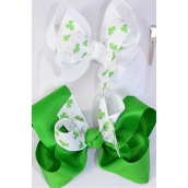 "Hair Bow Jumbo Double Layered  Shamrock Grosgrain Bow-tie/DZ **Alligator Clip** Size-6""x 5"" Wide,6 of each Pattern Asst,Clip Strip & UPC Code"