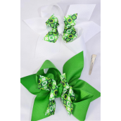 "Hair Bow Jumbo Double Layered Clover Grosgrain Bow-tie/DZ **Alligator Clip** Size-6""x 6"" Wide,6 of each Color Asst,Clip Strip & UPC Code"