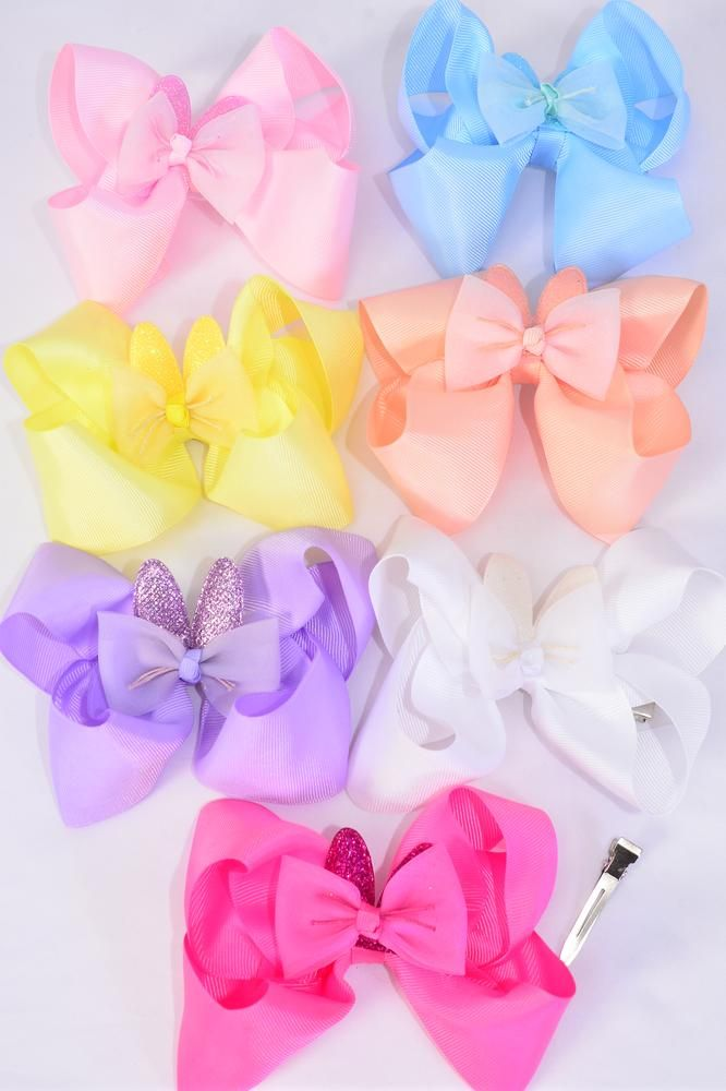 "Hair Bow Jumbo Double Layered Metallic Bunny Ears Grosgrain Bow-tie Pastel/DZ **Pastel** Size-6""x 6"",Alligator Clip,2 White,2 Baby Pink,2 Lavender,2 Blue,2 Yellow,1 Peach,1 Hot Pink,7 Color Asst,Clip Strip & UPC Cod"