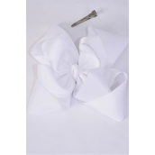 "Hair Bow Jumbo Windmill Cheer Bow Type Double Layer White/DZ **White** Alligator Clip,Size-7""x 7"" Wide,Clip Strip & UPC Code"