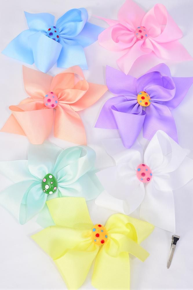 "Hair Bow Jumbo Easter Egg Charm Grosgrain Bow-tie Pastel/DZ **Pastel** Size-6""x 6"",Alligator Clip,2 White,2 Baby Pink,2 Lavender,2 Blue,2 Yellow,1 Peach,1 Mint Green,7 Color Asst,Clip Strip & UPC Code"