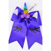 "Hair Bow Extra Jumbo Long Tail Cheer Type Bow Unicorn Flip Sequin Rainbow Grosgrain Bow-tie Purple/DZ **Purple** Alligator Clip,Size-7""x 6"" Wide,Clip Strip & UPC Code"