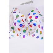 "Hair Bow Jumbo Metallic Holographic Polka-dots White Clear Stones Grosgrain Bow-tie/DZ **White** Alligator Clip,Size-6""x 5"" Wide,Clip Strip & UPC Code"