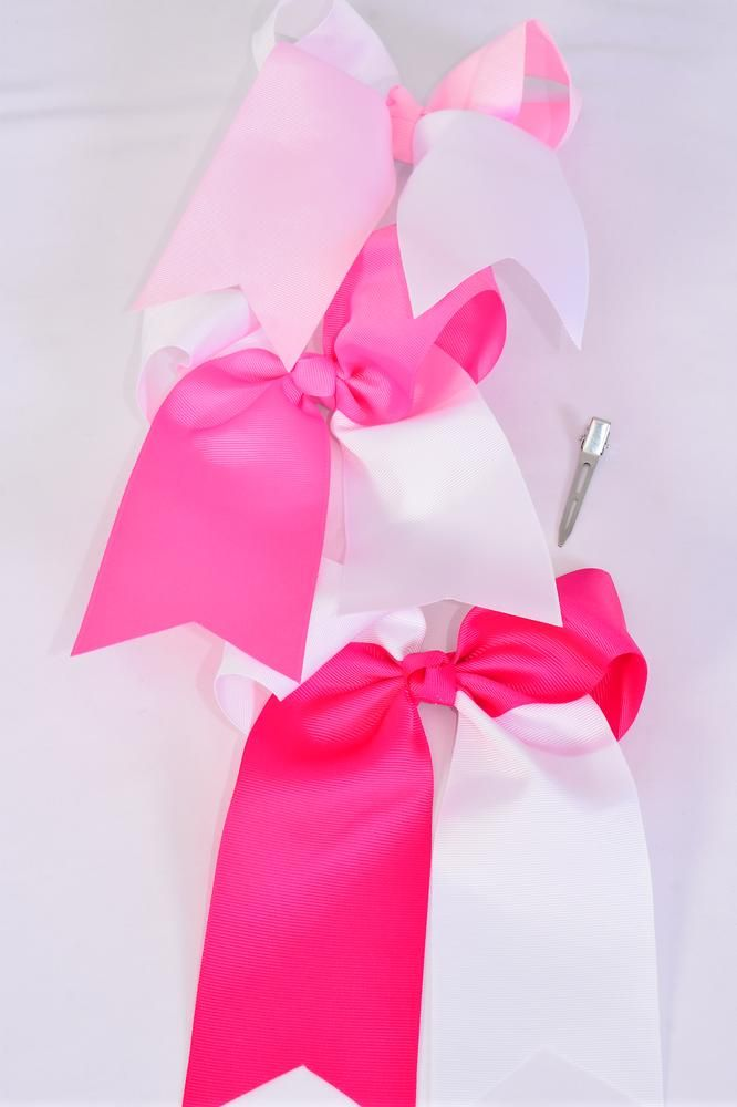 "Hair Bow Extra Jumbo Long Tail 2 Tone Pink & White Mix Cheer Bow Type Grosgrain Bow-tie/DZ **Pink Mix** Alligator Clip,Size-6""x 6"" Wide,4 Pearl Pink,4 Hot Pink,4 Fuchsia Color Asst,Clip Strip & UPC Code"