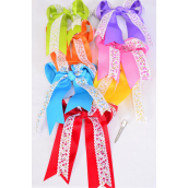 "Hair Bow Jumbo Long Tail Double Layered Floral Grosgrain Bowtie Multi/DZ **Multi** Alligator Clip,Bow-6.5""x 6"",2 Red,2 Yellow,2 Blue,2 Purple,2 Pink,1 Lime,1 Orange,7 Color Asst,Clip Strip & UPC Code"