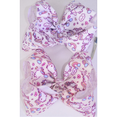 "Hair Bow Jumbo Cheer Type Bow Unicorn Magical Grosgrain Bow-tie/DZ **Alligator Clip** Size-8""x 7"" Wide,6 Of each Color Asst,Clip Strip & UPC Code"