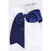 "Hair Bow Extra Jumbo Long Tail Cheer Type Bow Navy White Mix Grosgrain Bow-tie/DZ **Navy & White Mix** Alligator Clip,Size-6.5""x 6"",Clip Strip & UPC Code"