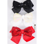 "Hair Bow Jumbo Double Layered Sequin Bowtie Black Grosgrain Bowtie/DZ **Black** Alligator Clip,Size-6""x 5"" Wide,Clip Strip & UPC Code"