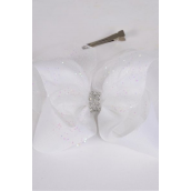 "Hair Bow Jumbo Double Layered Mesh Grosgrain Bow-tie White/DZ **White** Size-6""x 6"" Wide,Alligator Clip,Clip Strip & UPC Code"