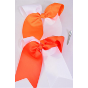 "Hair Bow Extra Jumbo Long Tail Cheer Type Bow 2 Tone Orange  Grosgrain Bow-tie/DZ **Orange & White Mix** Alligator Clip,Size-7""x 6"" Wide,6 of each Color Asst,Clip Strip & UPC Code"