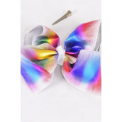 "Hair Bow Jumbo Cheer Type Bow Multi Holographic Grosgrain Bow-tie/DZ **Multi** Alligator Clip,Size-8""x 7"" Wide,Clip Strip & UPC Code"