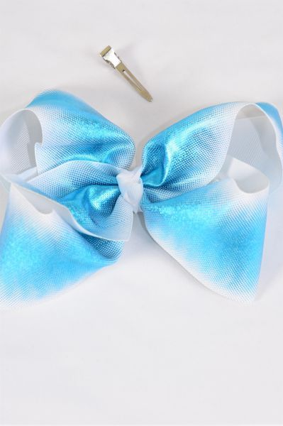 "Hair Bow Jumbo Cheer Type Bow Blue Holographic Grosgrain Bow-tie/DZ **Blue** Alligator Clip,Size-8""x 7"" Wide,Clip Strip & UPC Code"