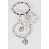 Bracelet Semiprecious Stone & Silver Tree of Life Charm Stretchy/DZ **Stretch**  Black,4 Ivory,4 Turquoise,3 Color Asst,Hang Tag & Opp Bag & UPC Code