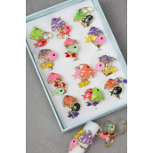 Rings 36 pcs Enamel Tropical Fish & Clear Diamond Ring/DY **Adjustable** 2 Of Each Color Asst,Velvet Ring Display Window Box & OPP bag & UPC Code - -