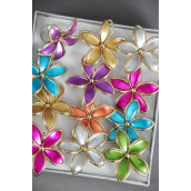"Rings Aloha Poly Flower Metallic Gold Trim Aloha/DZ **Adjustable** Flower Size-2"" Wide,2 Fuchsia,2 Blue,2 Gold,2 Silver,2 Purple,1 Lime,1 Orange, 7 Xolor Asst"