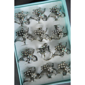 "Rings Antique Metal Flower Rhinestones/DZ **Adjustable** Flower Size-1.5""x 1"" Wide,6 Clear & 6 AB Clear Stone Mix,1 Dz Velvet Ring Display Window Box & OPP bag & UPC Code -"