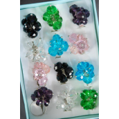 "Rings Fancy Glass Crystal Charms/DZ **Adjustable** Width 1.25"" Wide, 2 of each Color Asst,1DZ Velvet Ring Display Window Box,W OPP bag & UPC Code -"