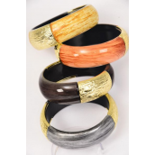 "Bangle Acrylic Brush Stroke Gloss Wood Finish Gold Accent/DZ Size-2.75""x 1.25"" Dia Wide,3 of each Color Asst,Hang Tag & OPP bag & UPC Code"