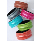"Bangle Acrylic Cracked Multi/DZ Size-2.75""x 1.25"" Dia Wide,2 of each Color Asst,Hang tag & Opp bag & UPC Code"