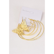 "Earrings 3 Pair Metal Butterfly & Loop Mix Patterns  Gold/DZ **Gold** Post,Size- Loop 2.5"" & 2"" Wide,Butterfly-1.5""x 2"" Wide,Earring Card & Opp bag & UPC Code,3 pair per Card,12 card= Dozen"