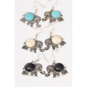 "Earrings Metal Antique Elephant Semiprecious Stone/DZ  match 76014 **Fish Hook** Size-1.25.""x 1"" Wide,4 Black,4 Ivory,4 Turquoise Asst,Earring Card & OPP Bag & UPC Code -"