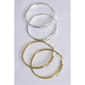 "Earrings Metal Hoop Clear Rhinestones/DZ **Post** Size-2.25"" Wide, Earring Card & OPP bag & UPC Code,Choose Gold Or Silver Finish.-"
