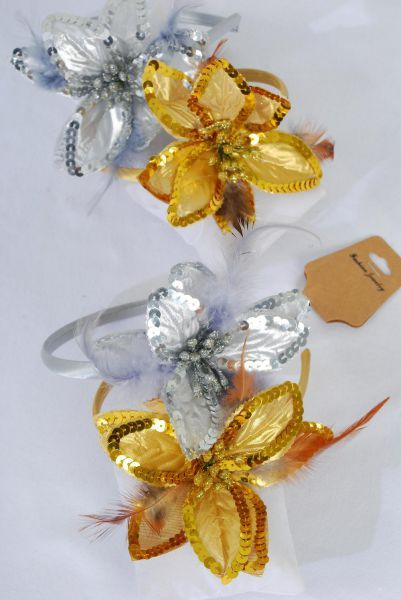 "Headband Horseshoe Satin Sequin Flower Feathers Gold & Silver Mix/DZ Flower Size-5"" Wide,6 Gold & 6 silver Mix,hang tag & UPC Code,Clear Box"