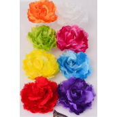 "Silk Flower Jumbo Rose Satin & Lace Mix Alligator Clip & Brooch Multi/DZ **Multi** Size-5"" Wide,Alligator Clip & Brooch,2 Fuchsia,2 Blue,2 White,2 Yellow,1 Purple,1 Red,1 Orange,1 Lime Mix,Display Card UPC Code,Clear Box"