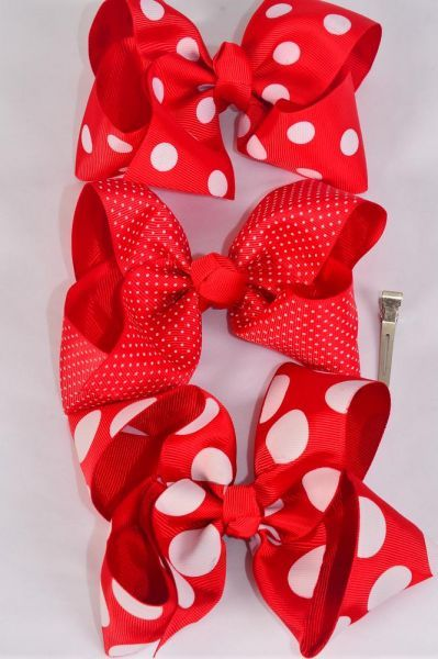"Hair Bow Jumbo Red Polk adots Mix Grosgrain Bow-tie/DZ **Red Polka-dot Mix** Alligator Clip,Size-6""x 5"" Wide,4 of each Pattern Mix,Clip Strip & UPC Code"