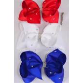 "Hair Bow Extra Jumbo Patriotic Silver Star Studded Red White  Royal Blue Mix Grosgrain Bow-tie/DZ **Red White Royal Blue Mix** Alligator Clip,Size-6""x 5"" Wide,4 Red 4 White,4 Royal Blue,3 Color Asst,Clip Strip & UPC Code"
