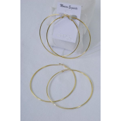 "Earrings Metal Hoop Gold 7 cm Wide/DZ **Post** Gold,Size-2.5"" Wide,Earring Card & OPP Bag & UPC Code"