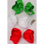 "Hair Bow Jumbo XMAS Center Clear Stones Red White Green Mix Grosgrain Bowtie/DZ **Alligator Clip** Size-6""x 5"" Wide,4 of each Color Asst,Clip Strip & UPC Code."