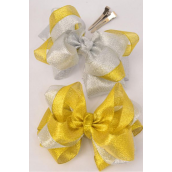 "Hair Bow Jumbo Double Layered Center Clear Stones Metallic G/S Asst/DZ **Alligator Clip** Size-6""x 5"" Wide,6 Gold,6 Silver Asst, Clip Strip & UPC Code"