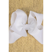 "Hair Bow Jumbo White Grosgrain Bow-tie/DZ **White** Size-6""x 5"" Wide,Alligator Clip,Clip Strip & UPC Code"