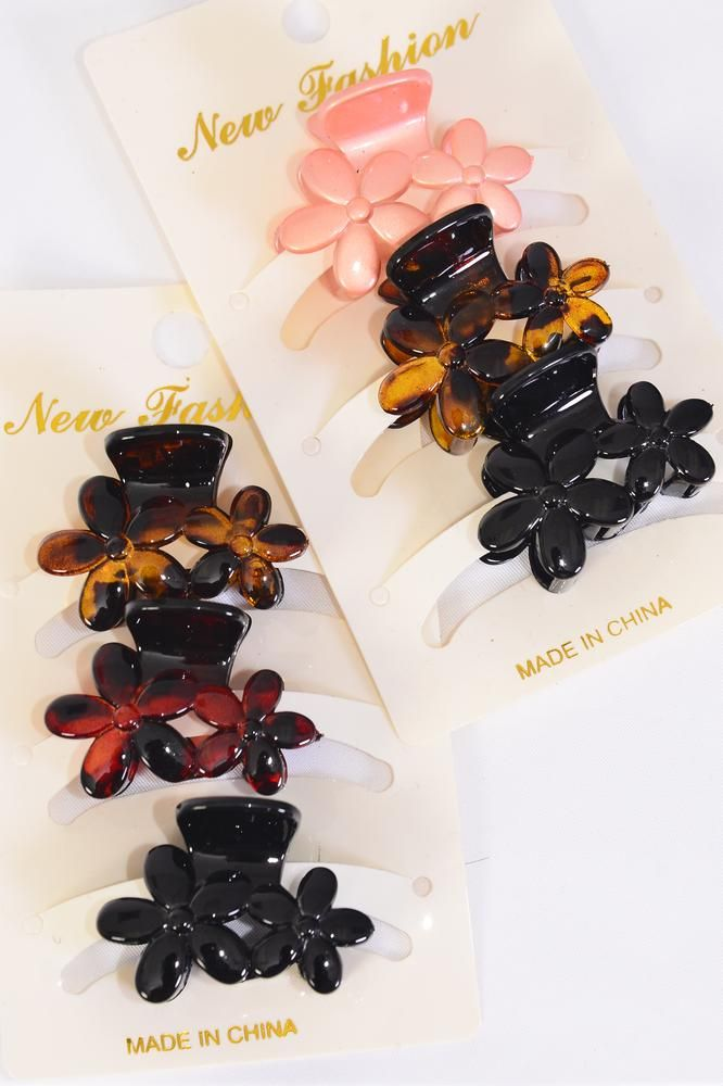 Jaw Clip Sets 36 pcs Flowers 4 cm Inner Pack of 3/DZ **Multi** Size-4 cm,6 of each Color Asst,Individual Display Card & Opp Bag & UPC Code