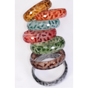 "Bracelet Bangle Acrylic Diamond Cut Leopard Animal Print/DZ **Multi** Size-2.75"" x 0.75"" Wide,2 Brown,2 Blue,2 Burgundy,2 Black,1 Green,1 Orange,2 camel,7 Color Asst, Hang Tag & OPP Bag & UPC code"