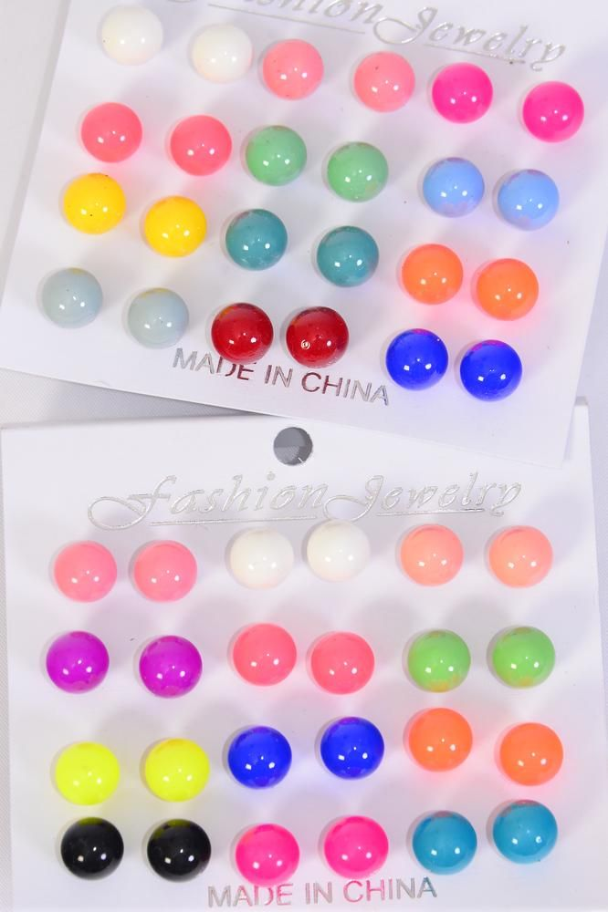 Earrings 12 Pair Acrylic Ball Multi/DZ **Post** Size- 10 mm,6 of each Assorted Color Mix,Earring card & Opp bag & UPC Code, 12 pair per Card,12 Card=Dozen