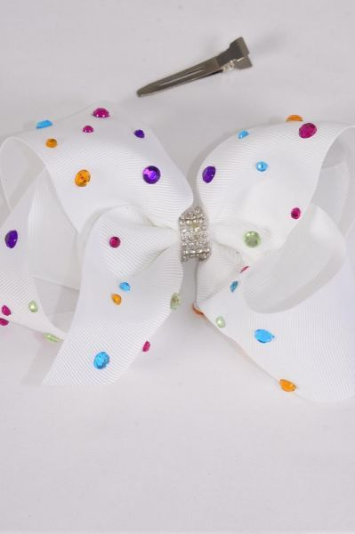 "Hair Bow Jumbo White Studded Multi Color Stones Grosgrain Bow-tie/DZ **Alligator Clip** Size-6""x 5"" Wide,Hang Tag & UPC Code"