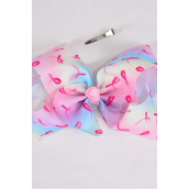 "Hair Bow Extra Jumbo Cheer Type Bow Pastel Tiedye Gradient  Pink Ribbons Grosgrain Bow-tie/DZ **Alligator Clip** Size-8""x 7"" Wide,Clip Strip & UPC Code"
