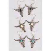 "Earrings Metal Antique Bull Head Semiprecious Stone/DZ match 70313 **Fish Hook** Size-1.75"" x 1.5"" Wide,4 Black,4 Ivory,4 Turquoise Asst,Earring Card & OPP Bag & UPC Code -"