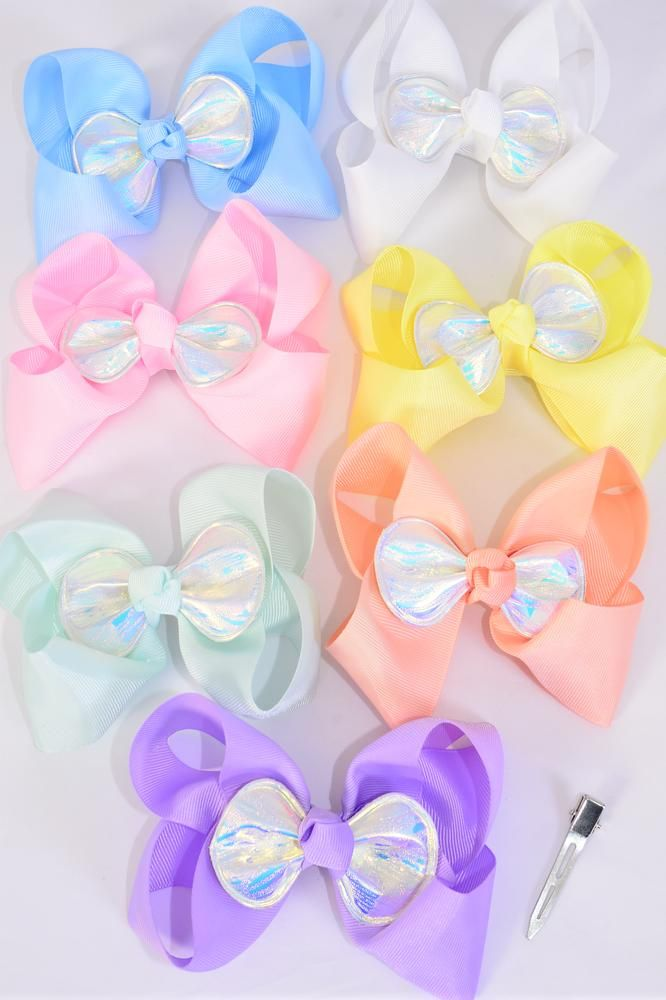 "Hair Bow Jumbo Center Metallic Iridescent Bow Grosgrain Bow-tie Pastel/DZ **Pastel** Size-6""x 5"",Alligator Clip,2 White,2 Baby Pink,2 Lavender,2 Blue,2 Yellow,1 Peach,1 Mint Green,7 Color Asst,Clear Strip & UPC Code"